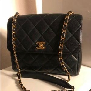 Authentic CHANEL Caviar Square Jumbo Single Flap